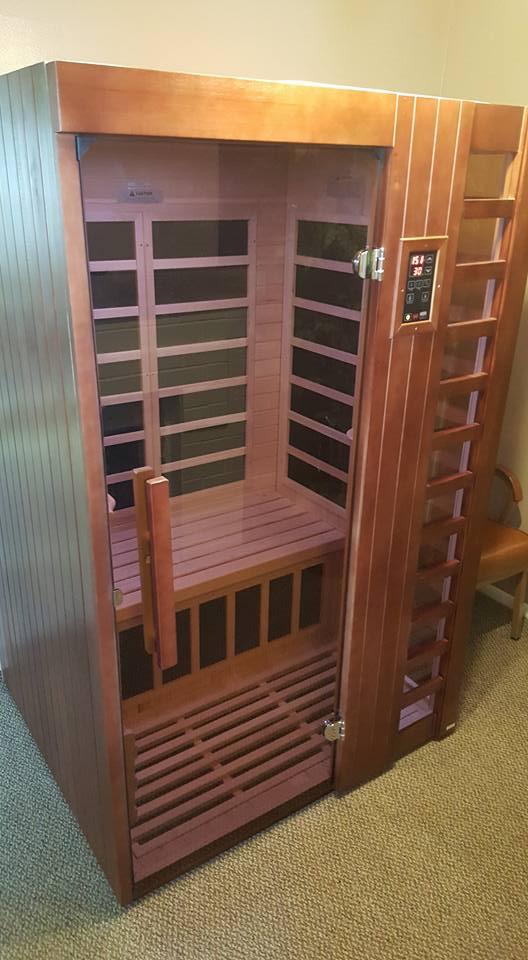 Our Infrared Sauna seats 2 people comfortably.
